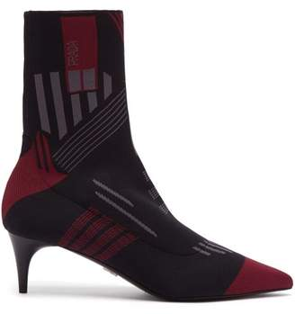 Prada Geometric Stretch Knit Ankle Boots - Womens - Black Burgundy