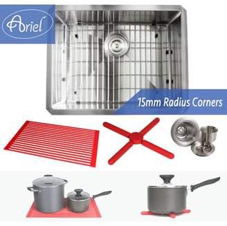 Ariel 23 Inch 16 Gauge Undermount Single Bowl Stainless Steel Sink Premium Dish Rack Package 15mm Radius Design
