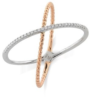 Women's Bony Levy Stackable Crossover Beaded Diamond Ring (Nordstrom Exclusive) $509.98 thestylecure.com