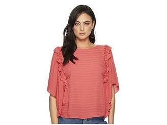 1 STATE 1.STATE Ruffle Shoulder Bell Sleeve Blouse
