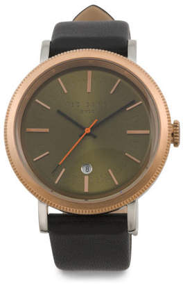 Men's Connor Two Tone Leather Strap Watch