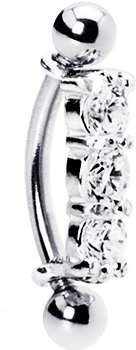 Body Candy Unisex Adult Steel 925 Silver Clear Curved Eyebrow Ring Body Piercing Barbell Created with Swarovski Crystals 16 Gauge 3/8""