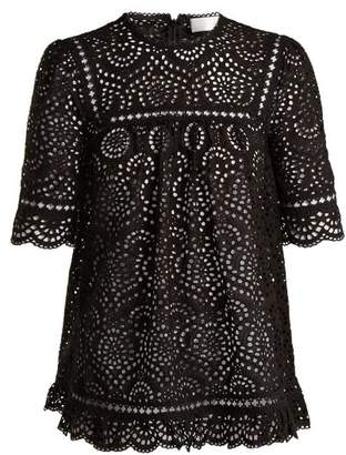Zimmermann Tali Swirl Broderie Anglaise Cotton Top - Womens - Black
