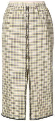 No.21 check mid-length skirt