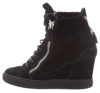 Giuseppe Zanotti Shearling-Lined Wedge Sneakers