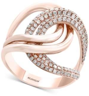 Effy Pave Rose by Diamond Interlocking Loop Ring (3/4 ct. t.w.) in 14k Rose Gold