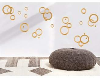 Presto Chango Decor Gold Retro Mod Circle Rings Wall Decals / Modern Geometric Polka Dot Wall Decals in Gold Wall Decor