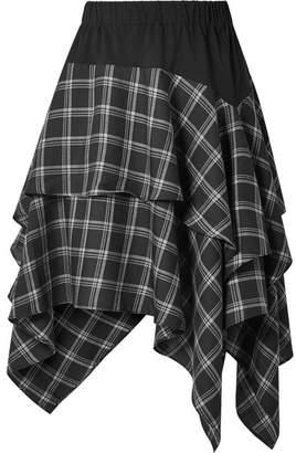 Opening Ceremony Ruffled Cotton-paneled Plaid Brushed-twill Skirt - Black