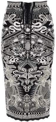 Roberto Cavalli Lace-Up Metallic Jacquard-Knit Skirt