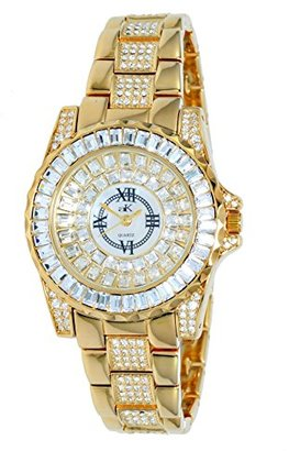 Adee Kaye Royal Women's Brass Brass Case Mineral Glass Quartz Watch AK9-11LG/CR
