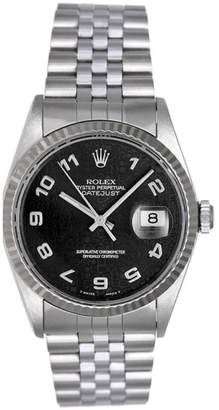 Rolex Datejust 16234 Stainless Steel White Gold Fluted Bezel 36mm Mens Watch