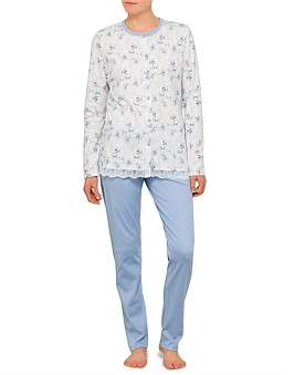 Linclalor Round Neck Button Up Long Sleeve Pyjama With Lace Edge