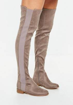 Missguided Taupe Chelsea Knee High Flat Boots