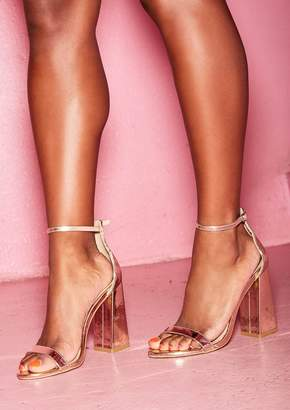 12b5e9b1507 Missy Empire Missyempire Jaide Rose Gold Patent Block Heels