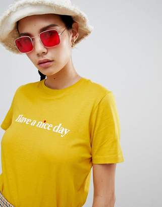 New Look Have A Nice Day Slogan Tee