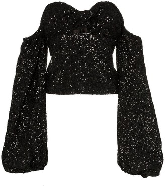 ATTICO sequin puff-sleeve top
