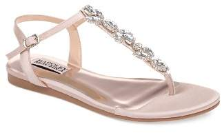 Badgley Mischka Women's Sissi Embellished Satin T-Strap Sandals