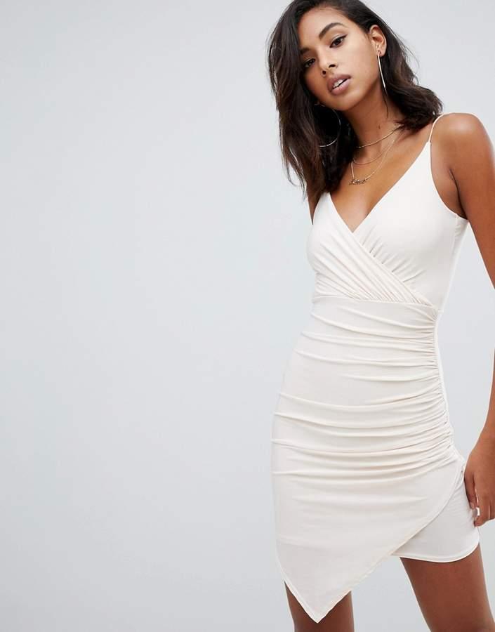 Missguided cami wrap slinky mini dress in cream