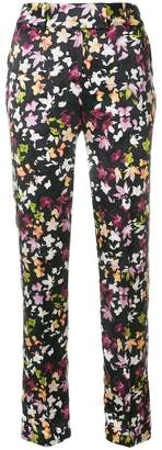 Equipment slit cuff foliage print trousers