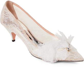 Rochas White Lace Pointed Toe Kitten Heel Pumps