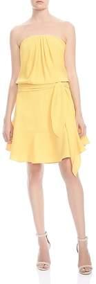 Halston Strapless Flounce-Skirt Dress
