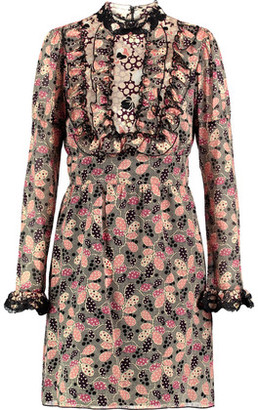 Anna Sui Lace-Trimmed Ruffled Printed Cotton-Blend Mini Dress