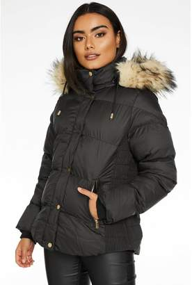 Quiz Black Padded Faux Fur Trim Jacket