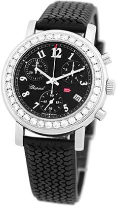 "Chopard Diamond Mille Miglia Chronograph"" Stainless Steel & Black Rubber Strap 33mm Womens Watch"