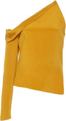 Cushnie Asymmetric Cold Shoulder Silk Top