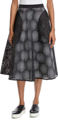 Paskal Laser-Cut High-Waist Midi Circle Skirt