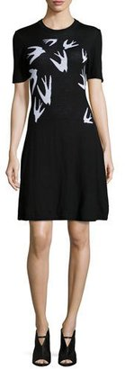 McQ Alexander McQueen Swallow Jacquard Short-Sleeve Dress $380 thestylecure.com