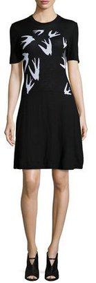 McQ Alexander McQueen Swallow Jacquard Short-Sleeve Dress $380 thestylecure.com