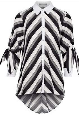 Lela Rose Poplin-Trimmed Striped Cotton And Silk-Blend Shirt