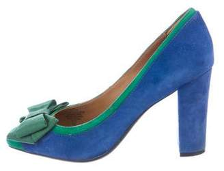 Isaac Mizrahi Suede Square-Toe Pumps
