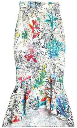 Peter Pilotto Fluted Printed Crepe Midi Skirt