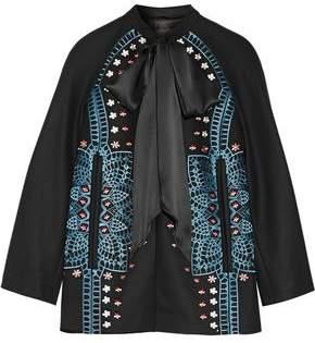Temperley London Juniper Satin-Trimmed Embroidered Wool And Cashmere-Blend Jacket