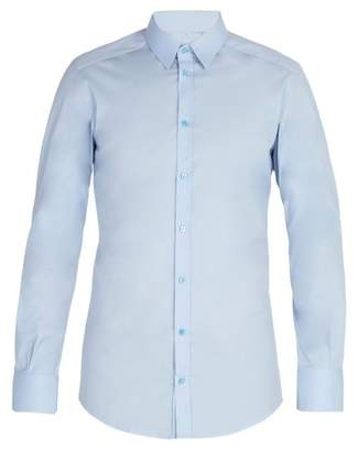 Dolce & Gabbana Johnny Cotton Blend Poplin Shirt - Mens - Blue