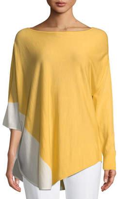 St. John Jersey Knit Asymmetric Poncho Sweater