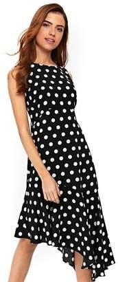 Wallis - Black Spot Asymetric Midi Dress