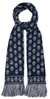 Alexander Mcqueen - Skull Jacquard Wool Blend Scarf - Womens - Navy