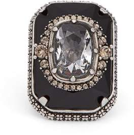 Alexander McQueen Crystal Embellished Ring - Womens - Black