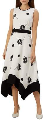 Hobbs London Lucie Sleeveless Floral-and-Dot Midi Dress