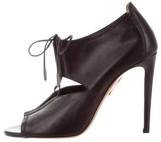 Aquazzura Leather Peep-Toe Booties