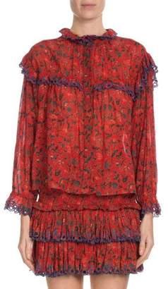 Etoile Isabel Marant Elmira Printed Eyelet-Trim Ruffle Blouse