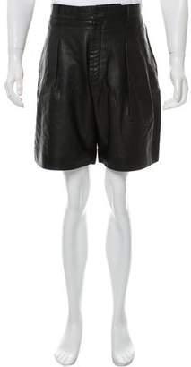 Givenchy Leather Flat Front Shorts w/ Tags