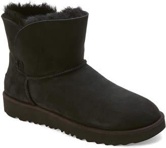 UGG Black Classic Cuff Real Fur Mini Boots