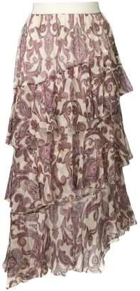 Zimmermann paisley ruffled skirt
