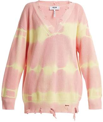 MSGM Oversized distressed tie-dye cotton sweater