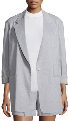 DKNY Long-Sleeve Oversized Linen-Blend Jacket, Cement $695 thestylecure.com