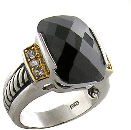 Sterling Silver Two-Tone Black Cubic Zirconia Ring